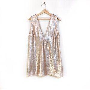 FOREVER21 GOLD SEQUIN VNECK DRESS